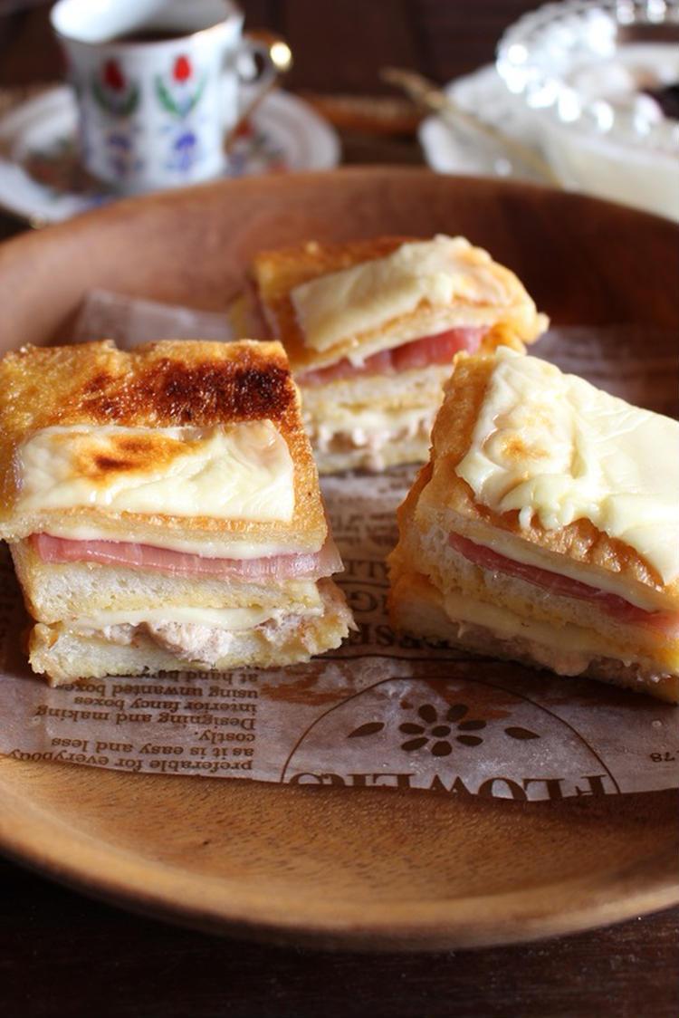 <ツナマヨと生ハムチーズのクロックケーク>はーい♪にゃん太のママさん