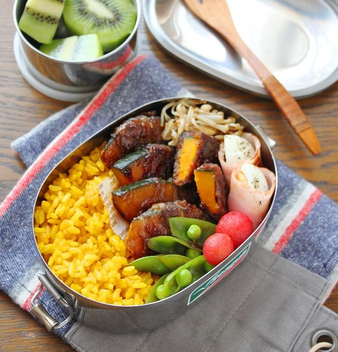 焼肉のたれで簡単!カレー風味のお弁当おかず「かぼちゃの肉巻き」