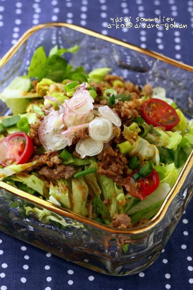 ひき肉とレタスのサラダそうめん *胡麻ポン酢味 by かんざきあつこ(a-ko)さん