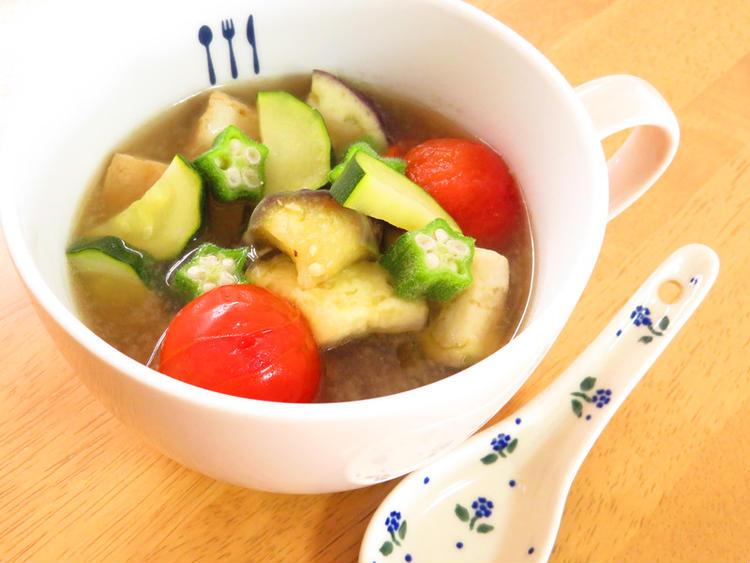 具沢山☆夏野菜と厚揚げのお味噌汁 by:kaana57さん