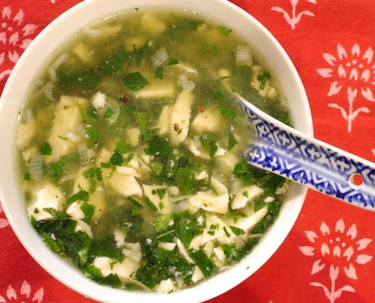 くずし豆腐のモロヘイヤスープ by:マルシェさん