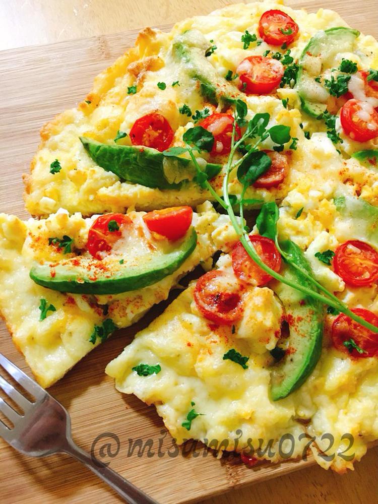 生地なし☆チーズと卵の低糖質ピザ by:Misuzuさん