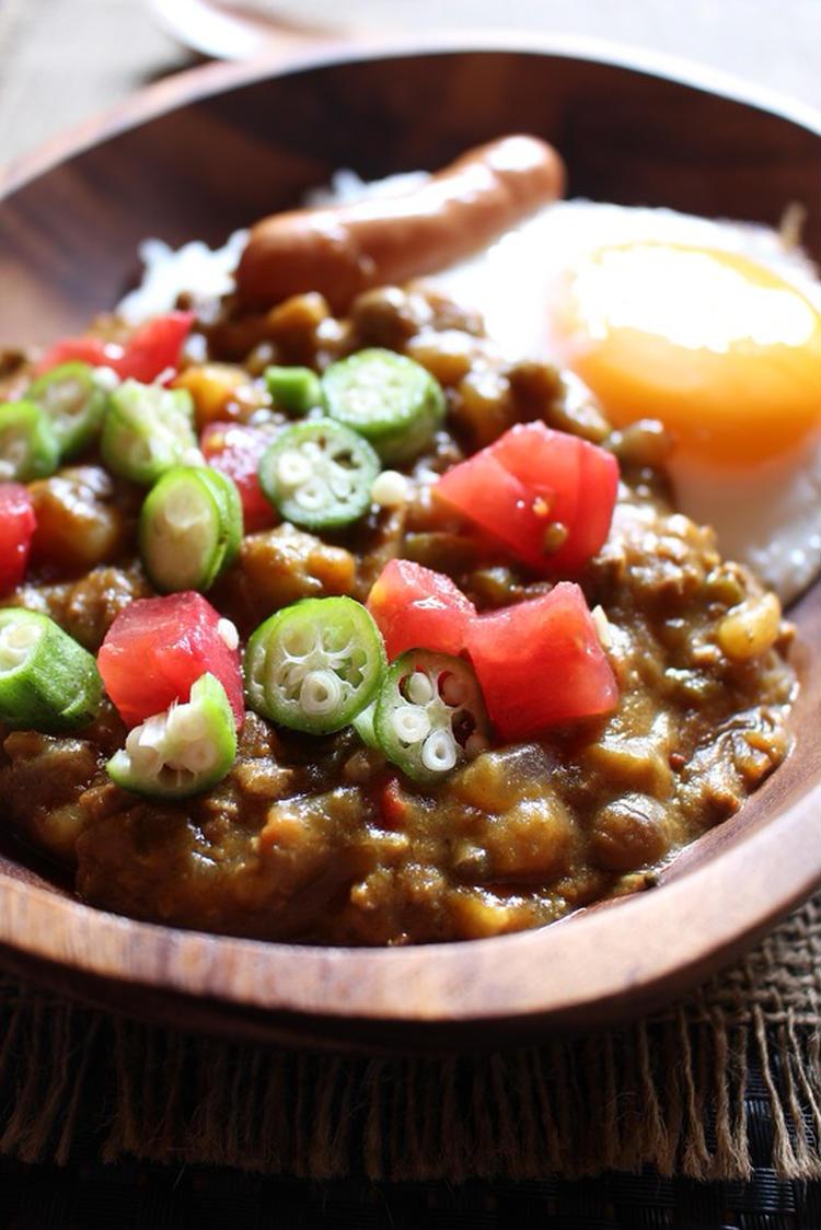 フライパンで簡単<夏野菜のスパイシーなキーマカレー> by:はーい♪にゃん太のママさん