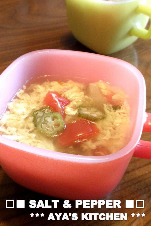 (□■ さっぱり♪お酢入り★オクラとトマトのスープ ■□ by:AYAさん)