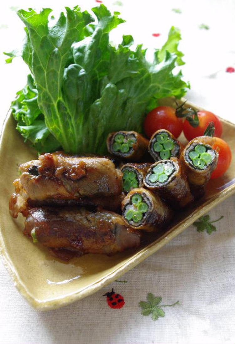 豚肉のいんげん海苔巻き 梅照焼き by:高羽ゆきさん