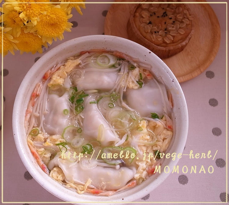 (ゆず胡椒風味♪かんたん卵スープで餃子スープ by:MOMONAOさん)