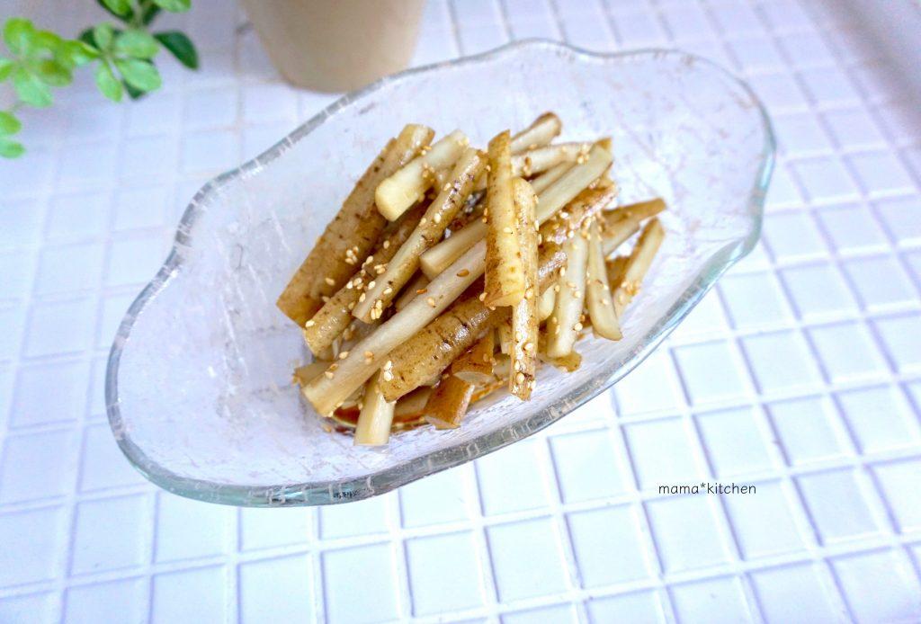 朝ごはんのお供に♪簡単「ごぼうのゴマ甘酢和え」の作り置き