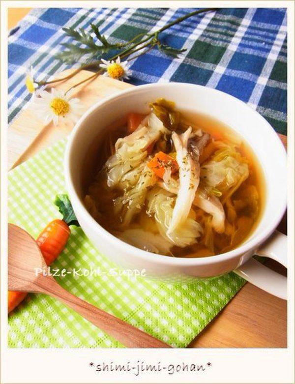 (舞茸とキャベツの香味野菜スープ by:庭乃桃さん)