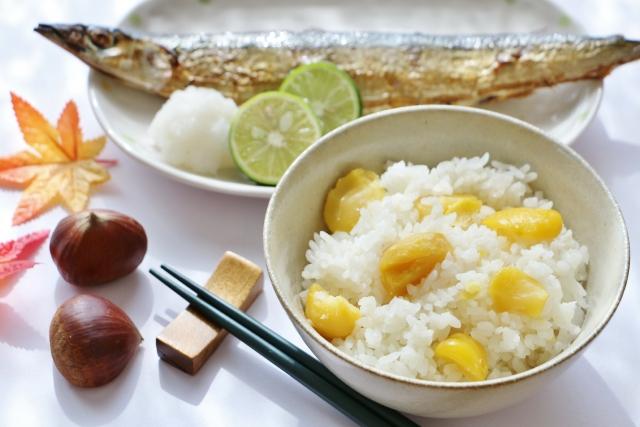 栗ご飯と焼きサンマ