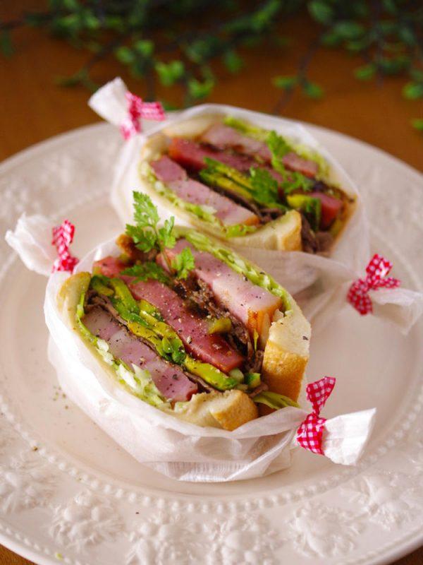 (肉、肉、肉のがっつりサンド☆具だくさんサンド by:めろんぱんママさん)