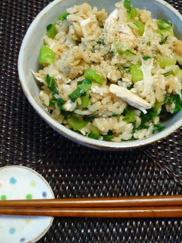 鶏と小松菜の炊き込みご飯。 by:まみこ。さん