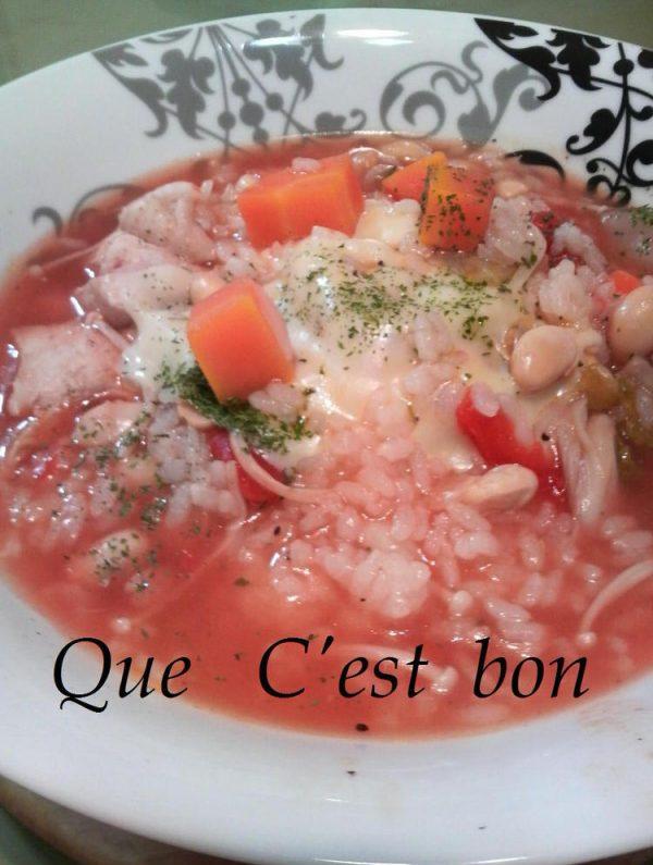 トマトスープ*リゾット♪ by?:マリーちゃん.。.:*・゜゚・さん)