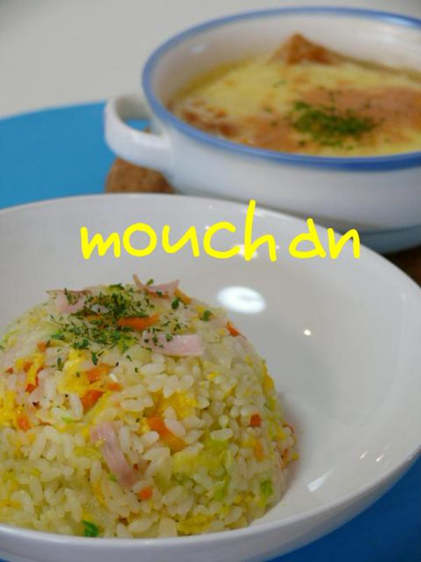 ☆キャベツの炒飯とオニオングラタンスープ☆ by :モーちゃんさん