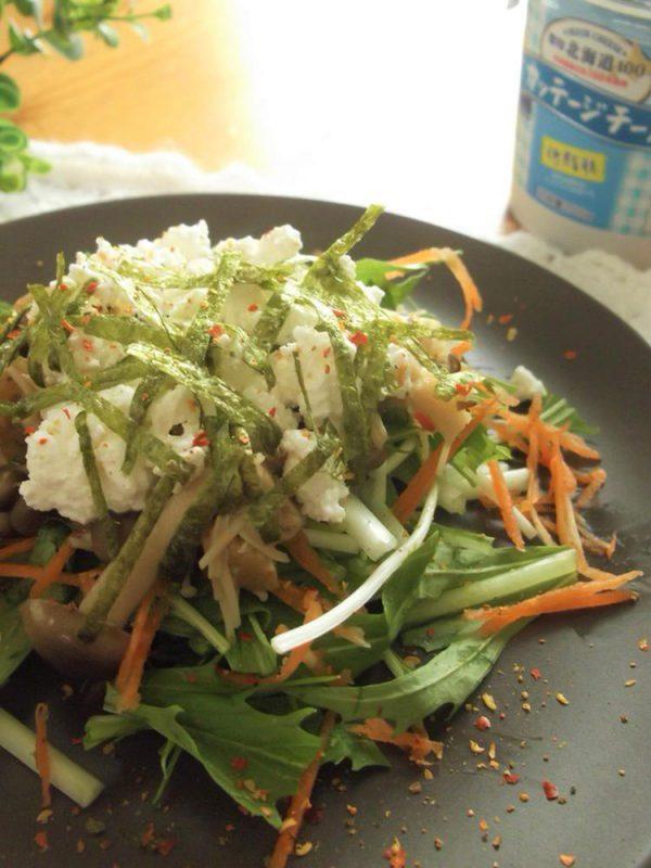 きのことカッテージチーズの和風サラダ by :まんまるらあてさん