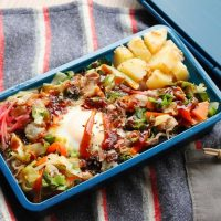 とっても簡単!お好み焼き風「巣ごもり丼」「明太じゃがバター」2品弁当