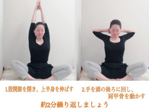 股関節を開いて座り、上半身を伸ばす