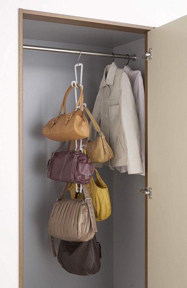 バッグをまとめて収納!3wayの省スペース連結ハンガー「ジョイントバッグハンガー」
