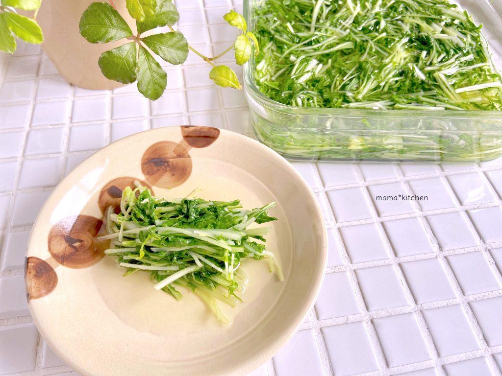 レンジ+白だしで簡単!「水菜のおひたし」の作り置き