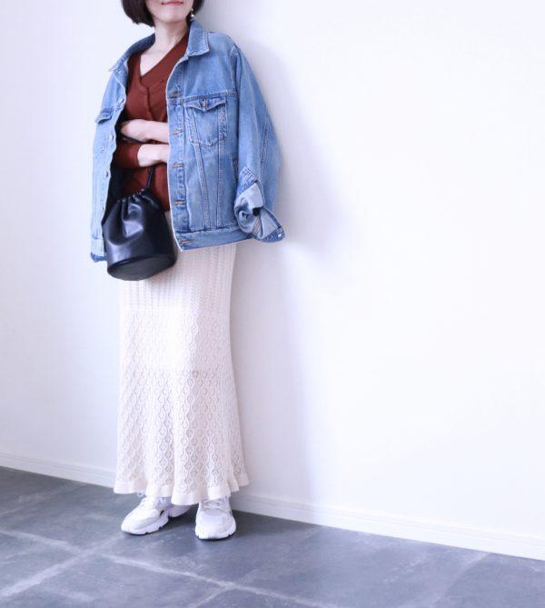 今から夏まで活躍しそう♪GU「透かし編みニットスカート」着回しコーデ