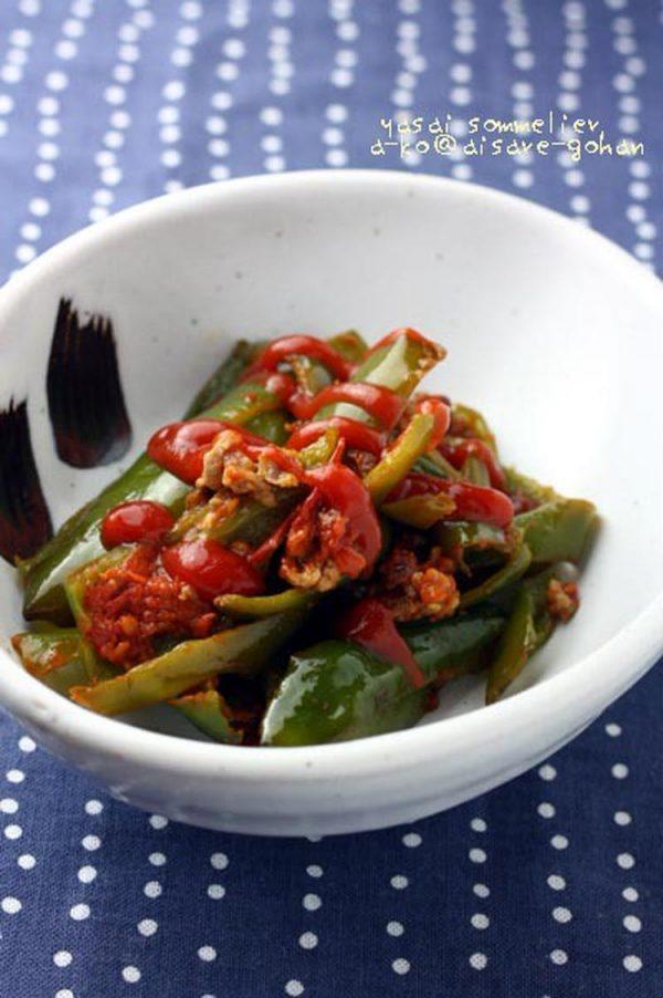 節約にもダイエットにも♪「ピーマンとミンチのトマト炒め *肉詰め風」 by:かんざきあつこ(a-ko)