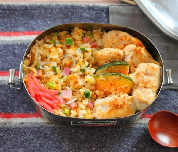 こってり味がご飯に合う!「鶏とかぼちゃの味噌マヨ」「レンジ炒飯」2品弁当