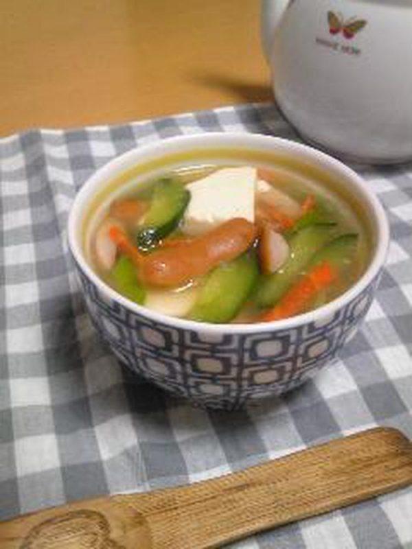 むくみ解消☆豆腐とキュウリの中華スープ by:hiromigoroさん