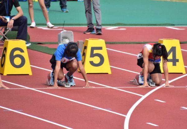 100m走のスタート地点