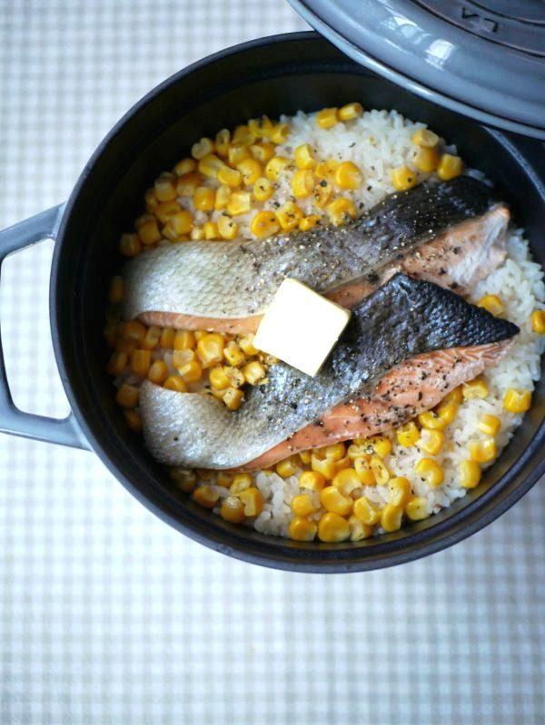 だしいらず。材料をのせて炊くだけ!簡単「鮭コーンバターごはん」by料理家 村山瑛子