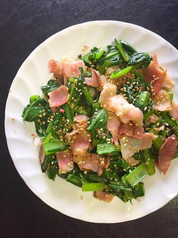 豊菜2分炒め 小松菜と生ハムのごまおかか炒め by:青山金魚さん
