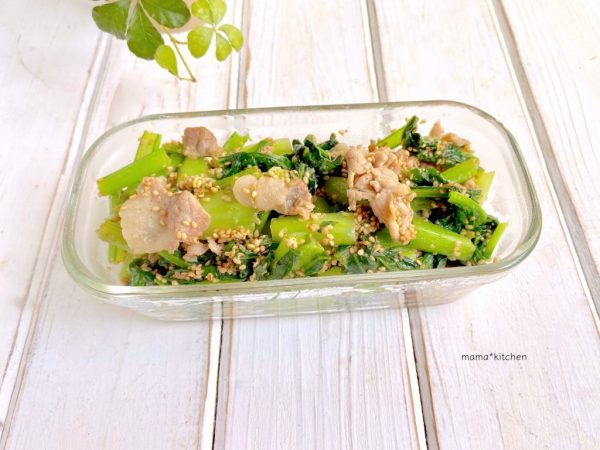 味付けはポン酢だけ!簡単「豚肉と小松菜のごまポン炒め」の作り置き by:Mayu*さん