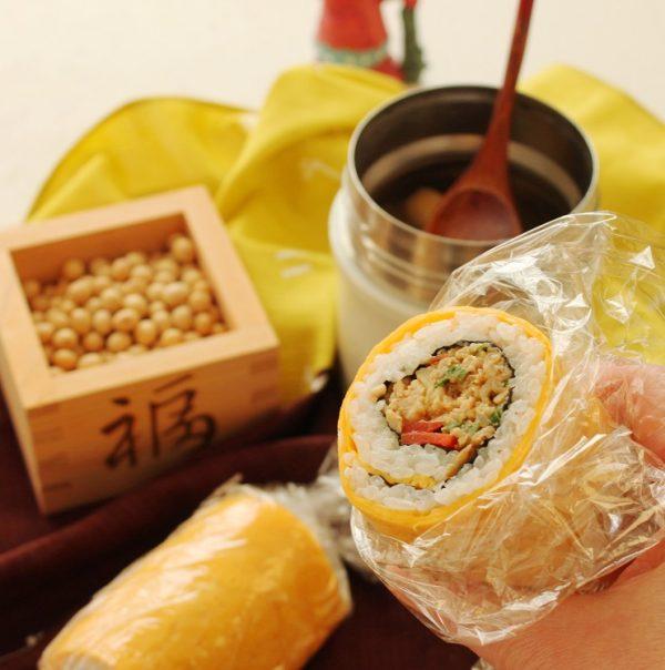 節分の恵方巻にも!簡単「野菜そぼろ巻き寿司」「簡単味噌汁」2品弁当