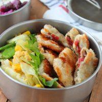 途中で洗わずラクラク!簡単「梅しそ薄切りカツ」「野菜の卵とじ」2品弁当