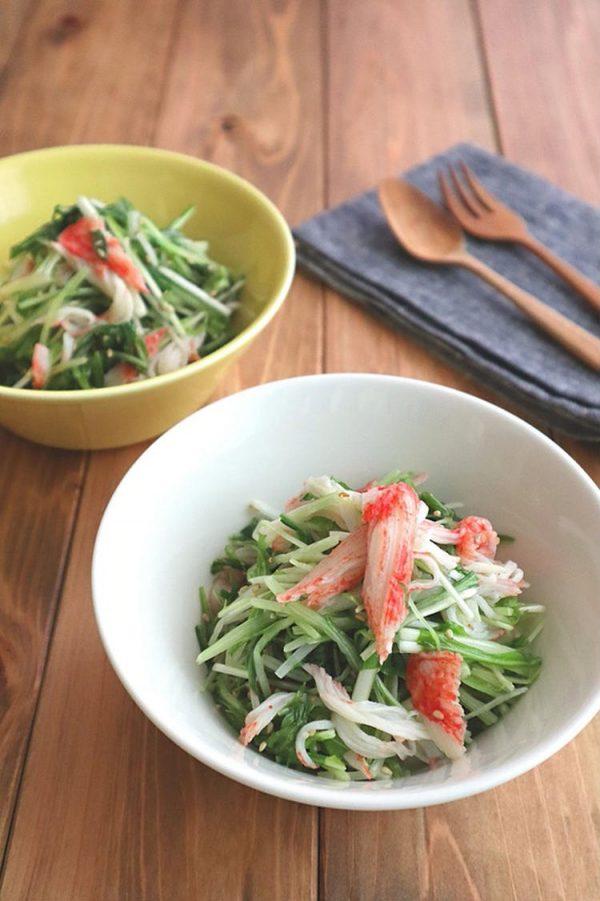 レンジで簡単☆水菜とカニカマのナムル風サラダ by:kaana57さん