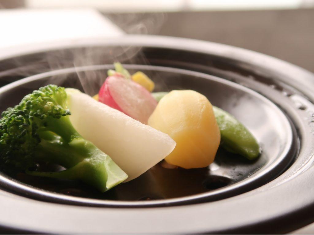 栃木海老原ファームから直送した 野菜の蒸し物