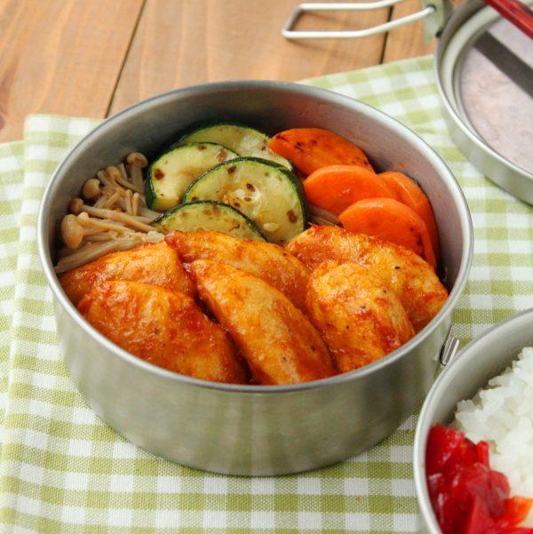 フライパン1つで簡単ヘルシー!「鶏ささみのケチャップカレー風味」「ズッキーニ炒め煮」2品弁当