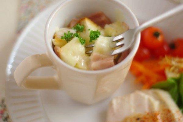 マグカップで作り置き!朝はレンジで1分?甘くないフレンチトースト