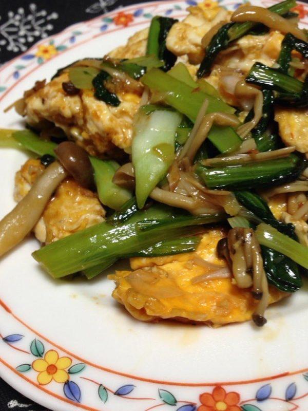 小松菜とたまごときのこのピリ辛炒め(中華風) by準Jun(はーい♪にゃん太のママ改め)さん