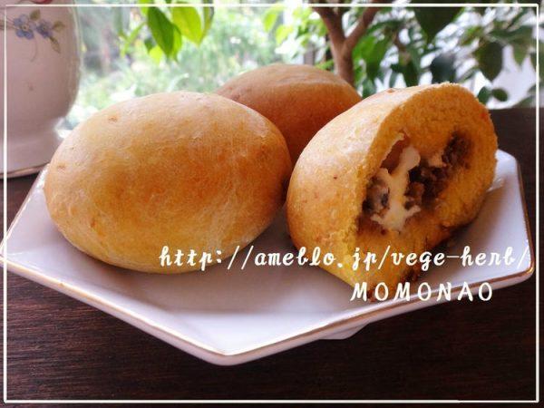 発酵なし♪3種のかぼちゃパン風レシピ ナツメグ風味(^-^)きんぴらごぼう・キムチチーズ・ゴーヤ佃煮包みました byMOMONAOさん