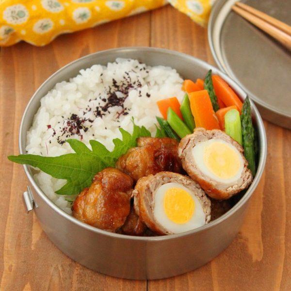 焼肉のたれで簡単!「うずら卵の肉巻き」「アスパラバター煮」2品弁当