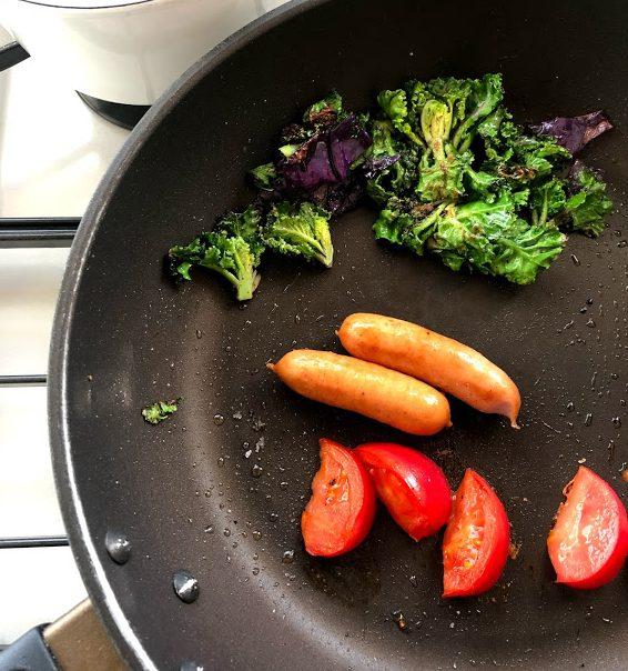 3品調理のフライパン