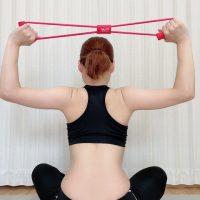 【朝4分】背中・上半身をスッキリ引き締め!100均ゴムチューブで簡単ストレッチ