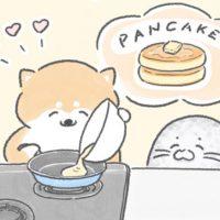 【四コマ漫画】vol.5「パンケーキ」|おはよう!おしばと愉快な仲間たち