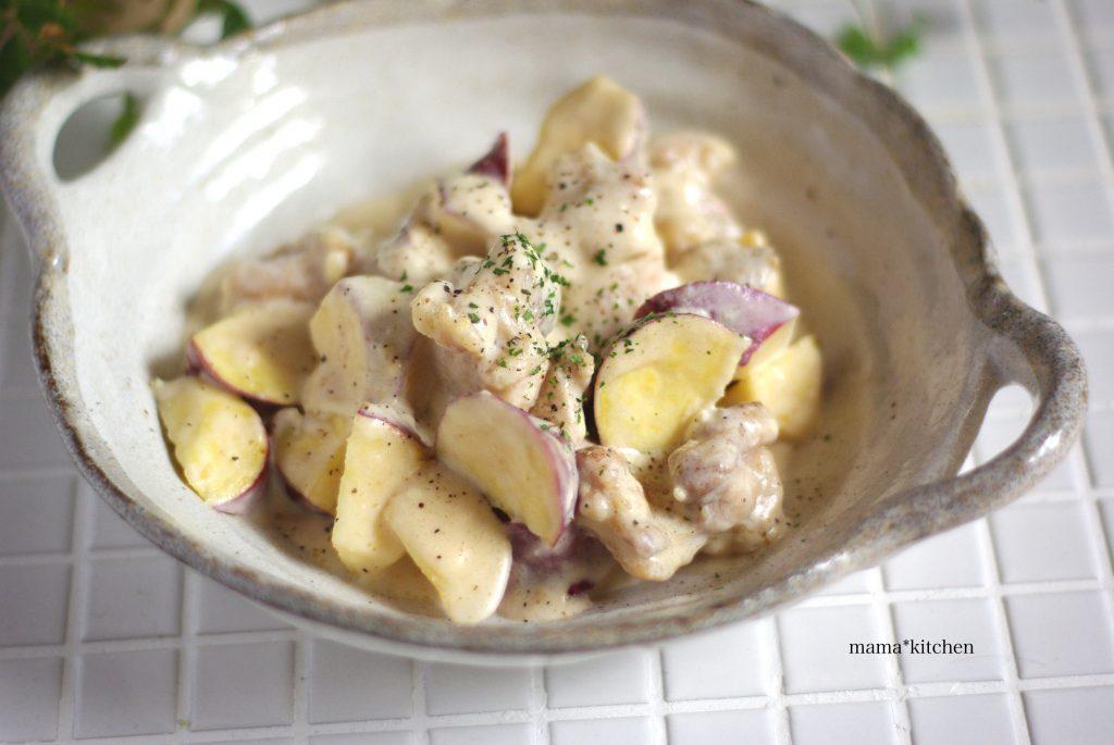 レンジ活用で時短♪簡単作り置き「鶏とさつまいものチーズクリーム煮」