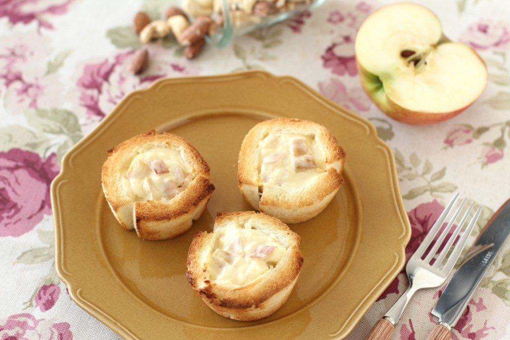材料7つで簡単♪ 食パンがかわいく変身。アップルチーズカップパン