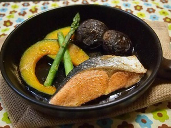 秋鮭のジンジャー風味☆オイル焼き