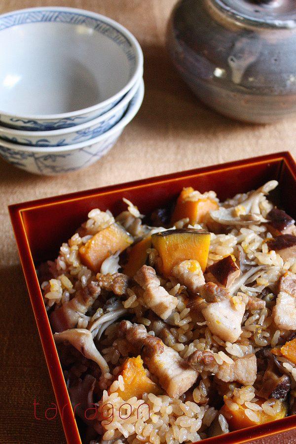 かぼちゃと豚バラの炊き込みご飯